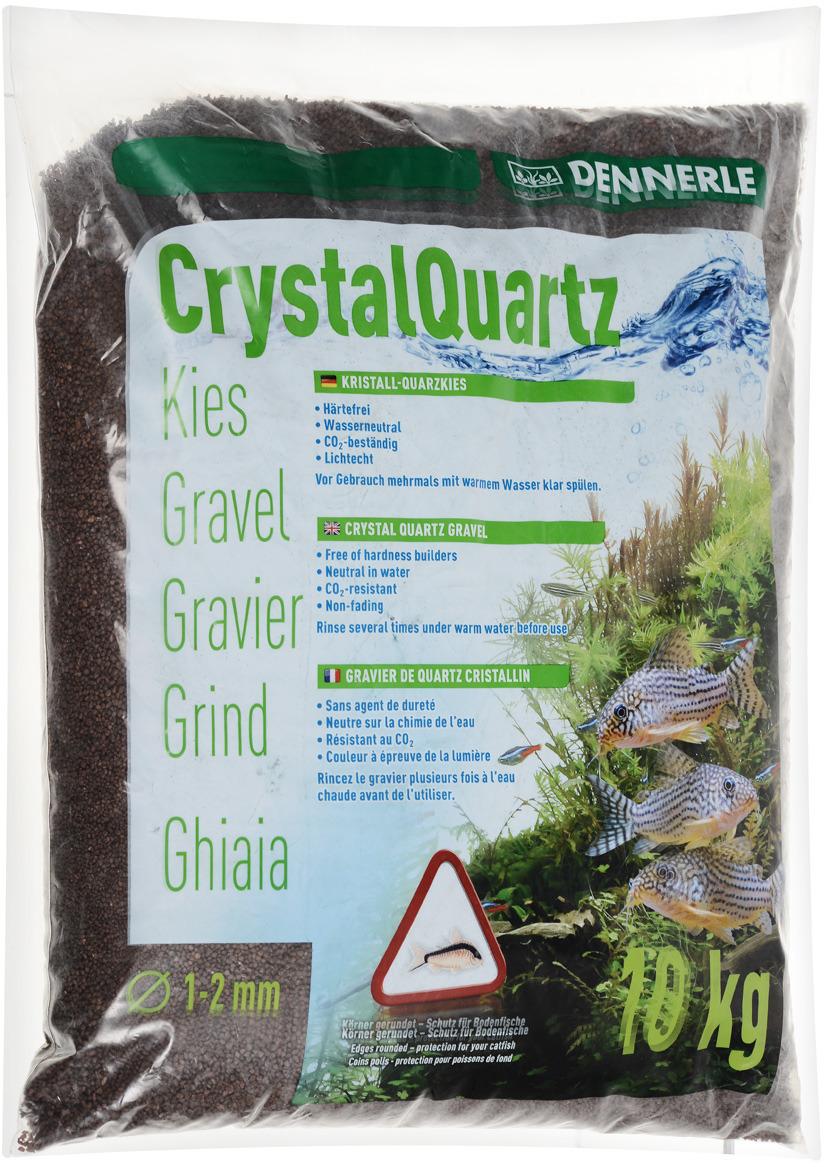 Грунт для аквариума Dennerle Kristall-Quarz, натуральный, цвет: темно-коричневый, 1-2 мм, 10 кг грунт для аквариума dennerle кристал кварц сланцево серый 1 2мм 5кг