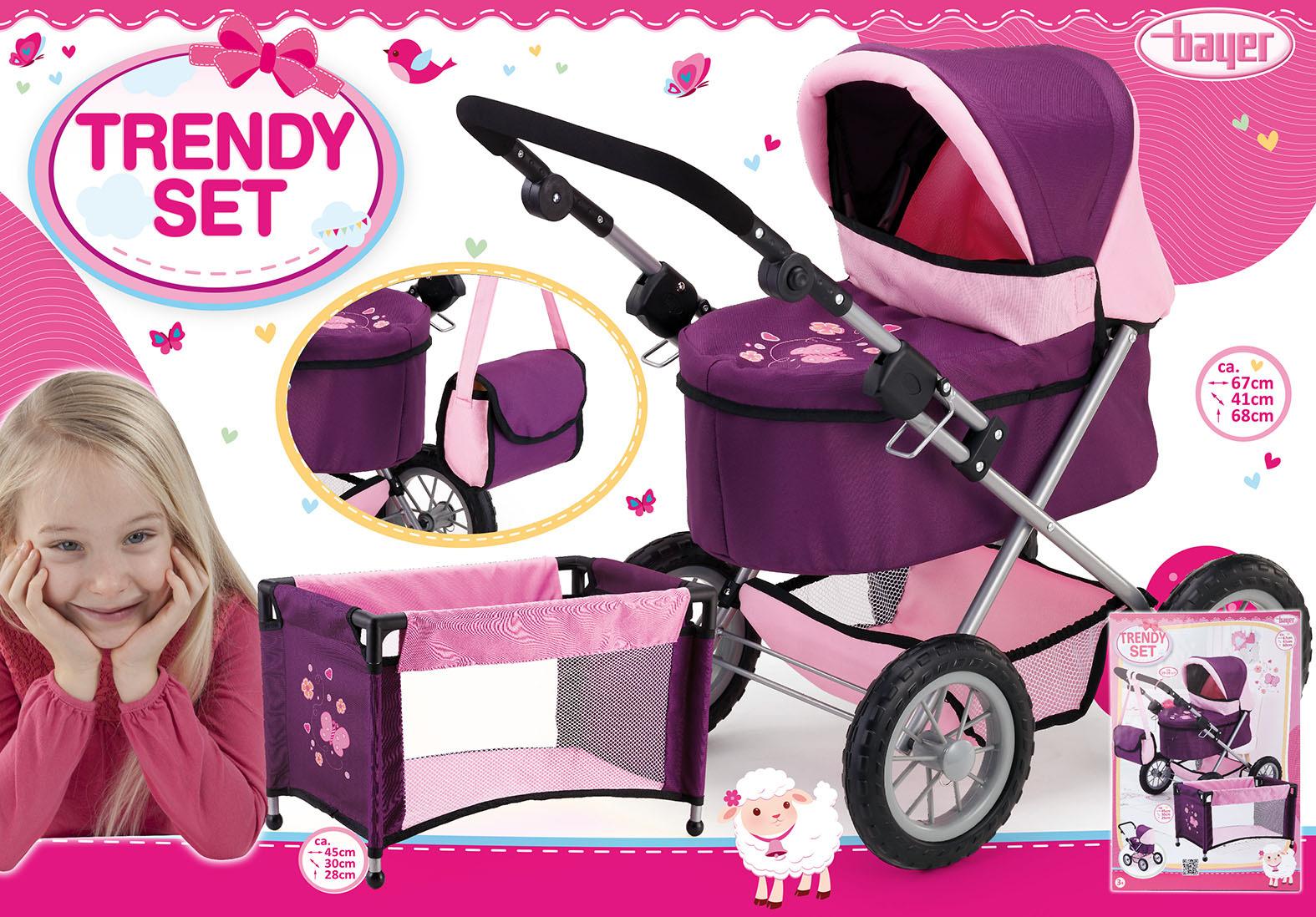 Набор для кукол Bayer Design Тренди: коляска, кроватка, цвет: фиолетовый, розовый коляска для кукол bayer design тренди цвет серый розовый