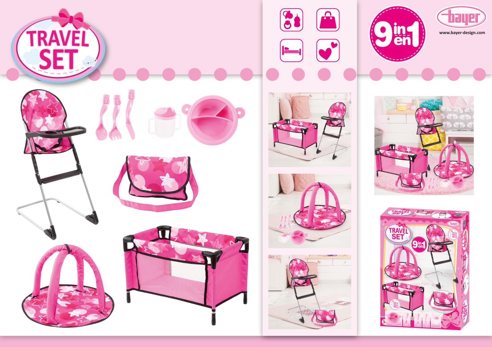 Набор для кукол Bayer Design, цвет: розовый, 9 предметов коляска для кукол bayer design тренди цвет серый розовый