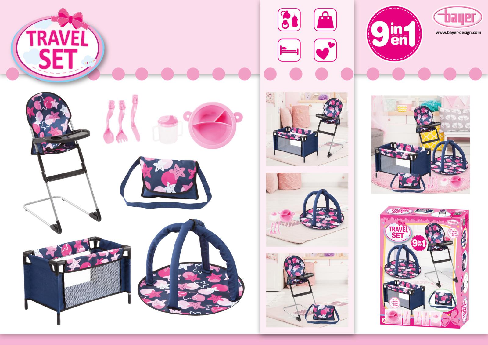 Набор для кукол Bayer Design, цвет: синий, 9 предметов коляска для кукол bayer design тренди цвет серый розовый