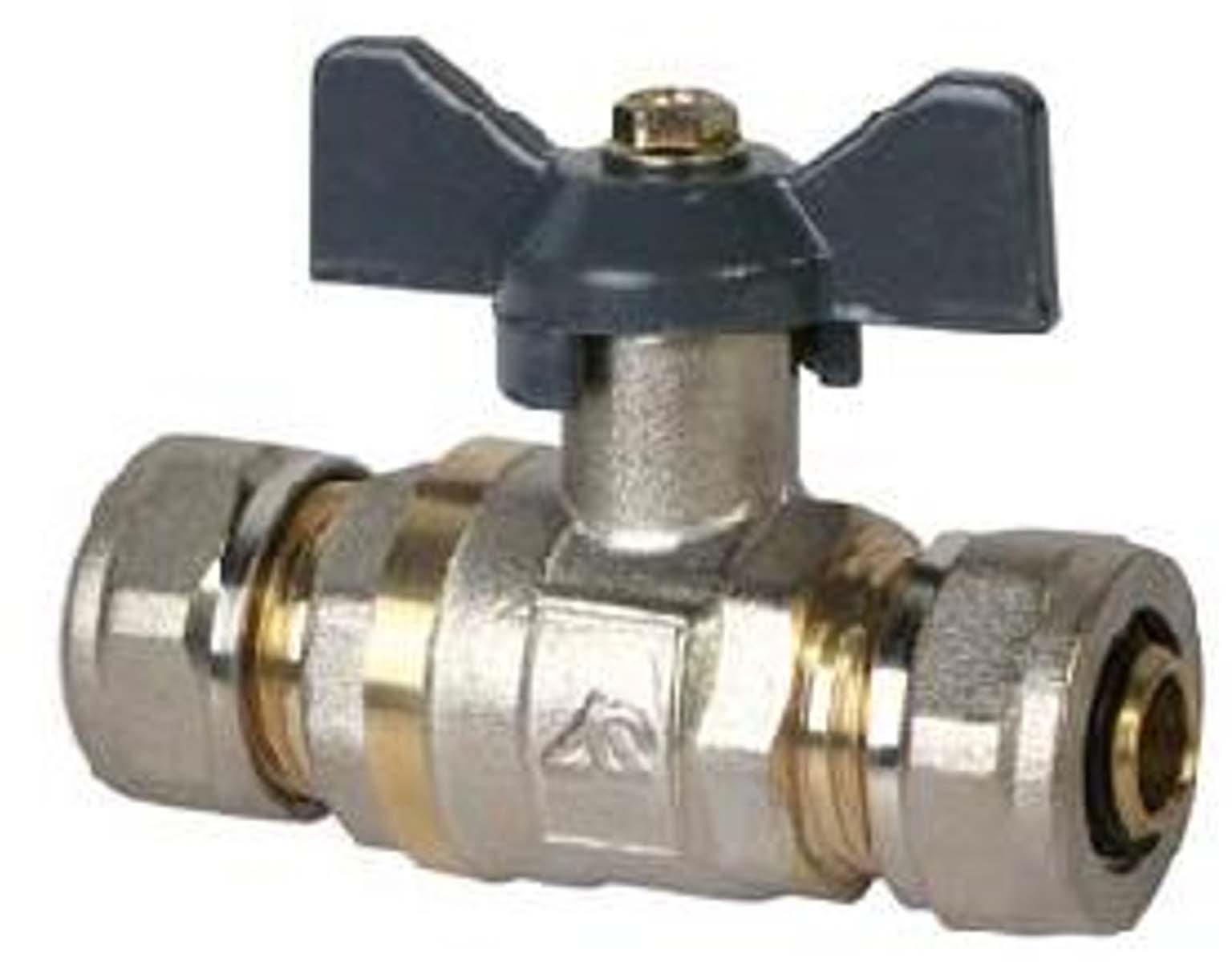 Кран шаровый RVC, под металлическую/пластиковую трубу, 16 х 16 ц/ц бант, MP-У соединитель rvc ц г внутренняя резьба 20 мм х 1 2