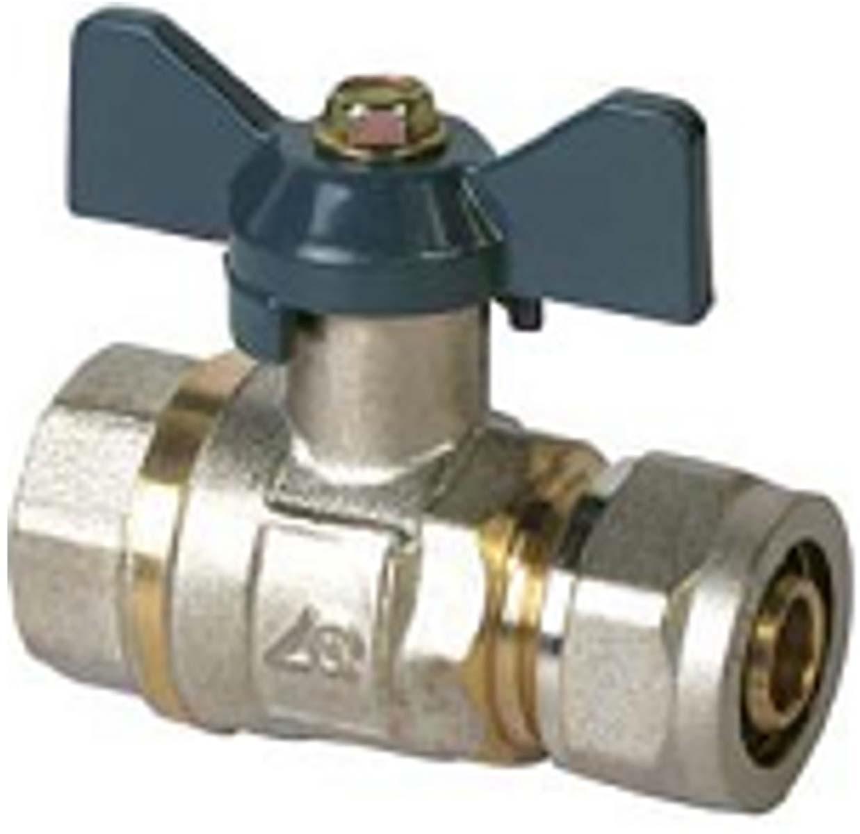 Кран шаровый RVC, под металлическую/пластиковую трубу, 16 х 1/2 ц/г бант, MP-У соединитель rvc ц г внутренняя резьба 20 мм х 1 2