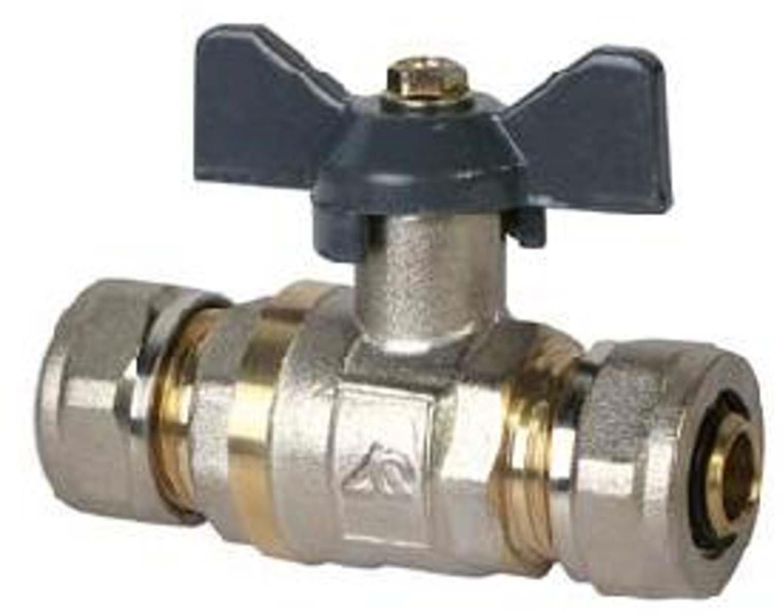 Кран шаровый RVC, под металлическую/пластиковую трубу, 20 х 3/4 ц/г бант, MP-У соединитель rvc ц г внутренняя резьба 20 мм х 1 2