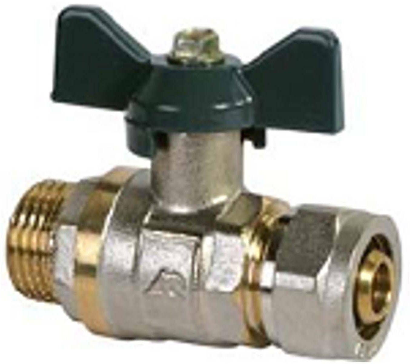 Кран шаровый RVC, под металлическую/пластиковую трубу, 16 х 1/2 ц/ш бант, MP-У соединитель rvc ц г внутренняя резьба 20 мм х 1 2