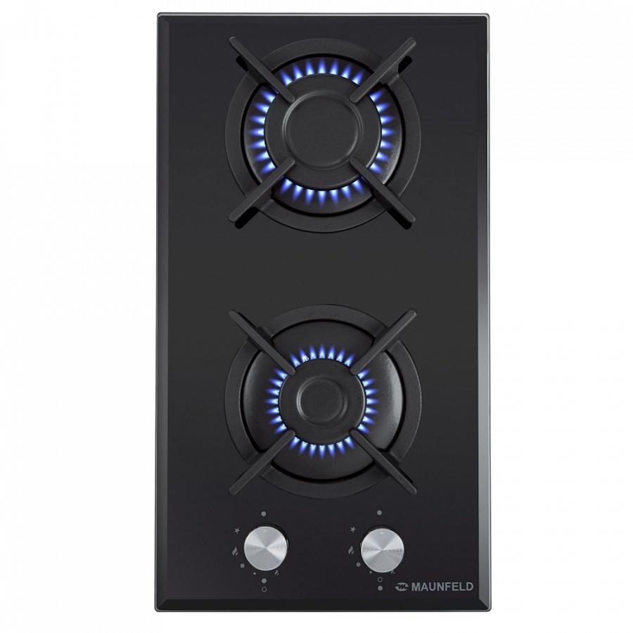 Варочная панель MAUNFELD EGHG. 32. 1CB/G газовая, черный Мощность конфорок 2 конфорки мощностью: 2600, 1700 Вт Ширина 300...
