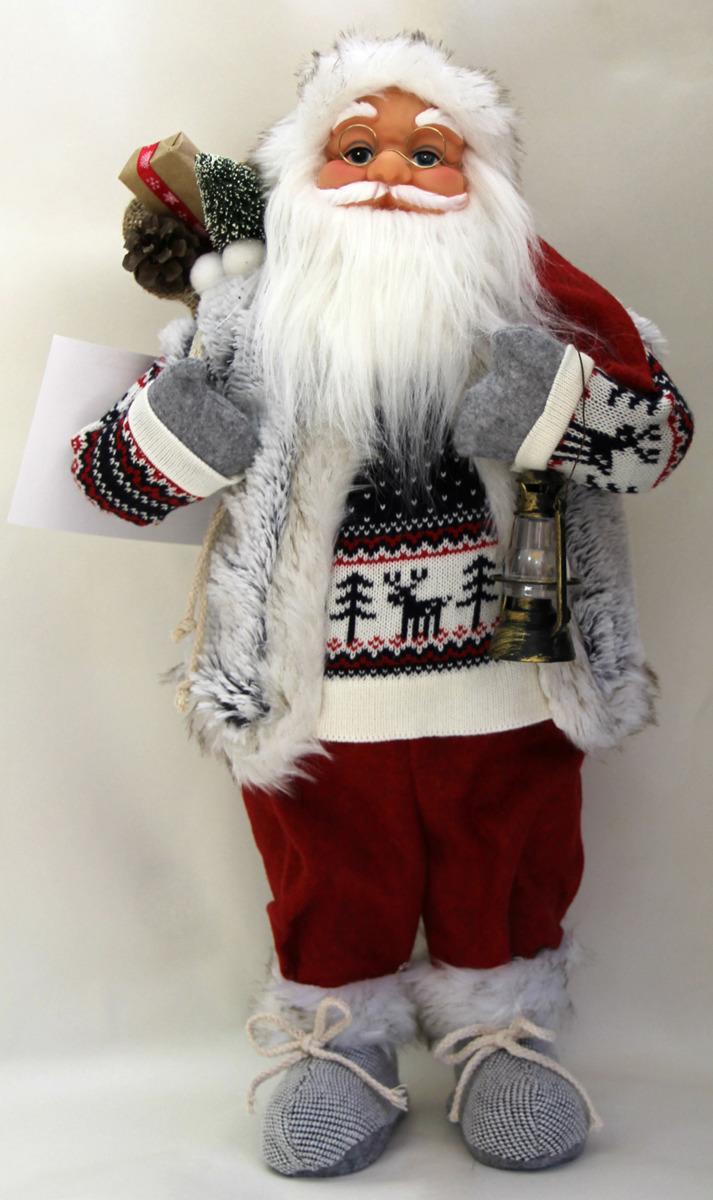 Фигурка новогодняя Санта Клаус, цвет: красный, серый, синий, высота 61 см