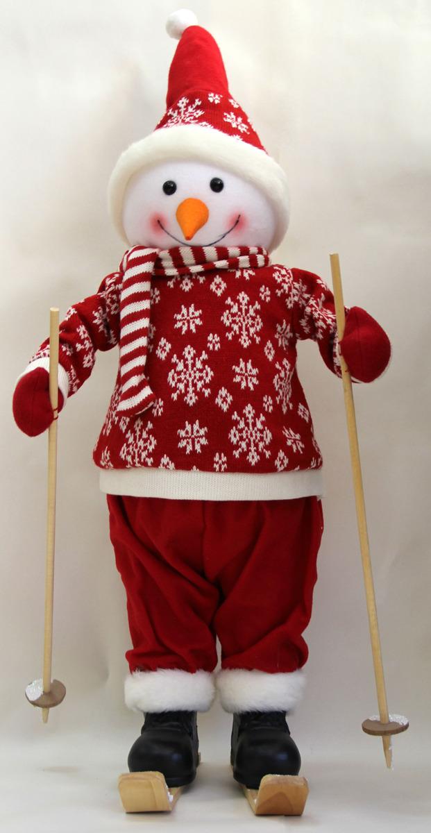 Фигурка новогодняя Снеговик на лыжах, цвет: красный, высота 66 см