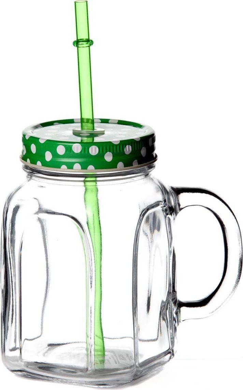 Кружка столовая Pasabahce Homemade, с крышкой, цвет: зеленый кружка бежевая 8х9 8 см