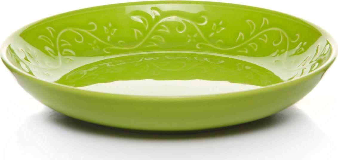 Тарелка Kutahya Porselen IVY, глубокая, цвет: зеленый. Диаметр 22 см тарелка глубокая gotoff цвет фисташковый диаметр 18 5 см