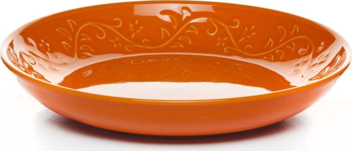 Тарелка Kutahya Porselen IVY, глубокая, цвет: оранжевый. Диаметр 22 см тарелка глубокая gotoff цвет фисташковый диаметр 18 5 см