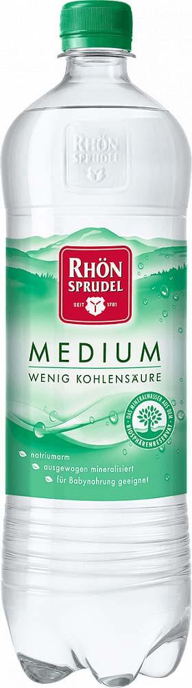 Вода минеральная природная столовая слабогазированная Rhon Sprudel, 1 л нарзан вода минеральная нарзан натуральной газации 1 л