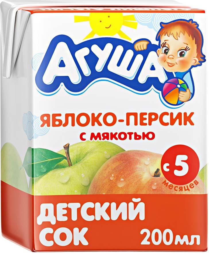 Сок Агуша Яблоко-Персик, с 5 месяцев, 0,2 л соки и нектары агуша агуша яблоко и шиповник с 5 мес 150 мл