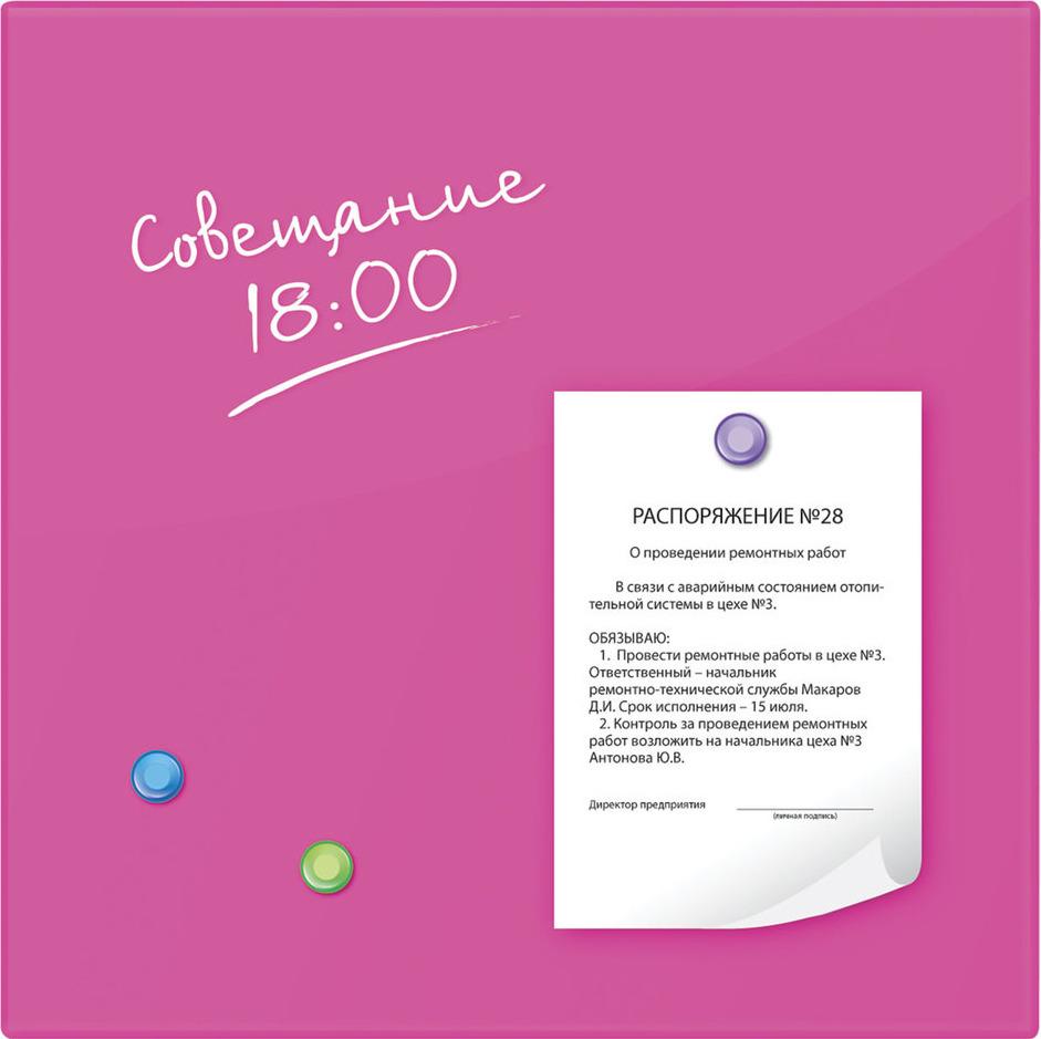 Магнитно-маркерная доска Brauberg, с 3 магнитами, цвет: розовый, 45 х см