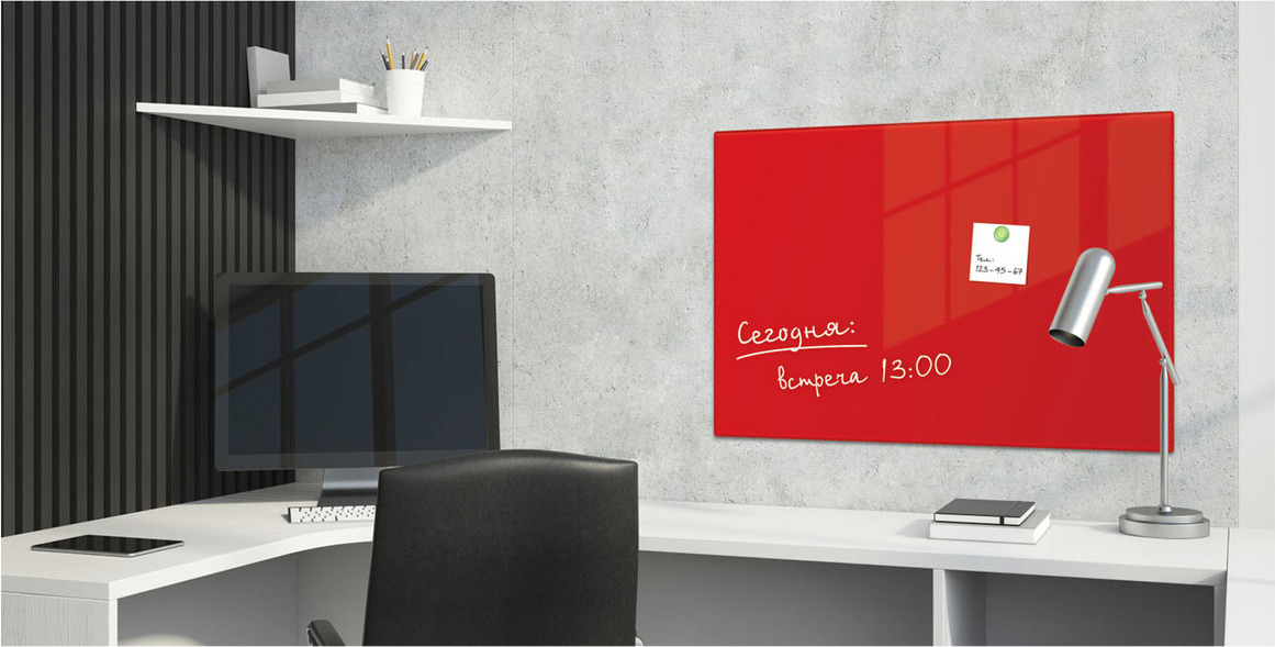 Магнитно-маркерная доска Brauberg, с 3 магнитами, цвет: красный, 40 х 60 см Brauberg
