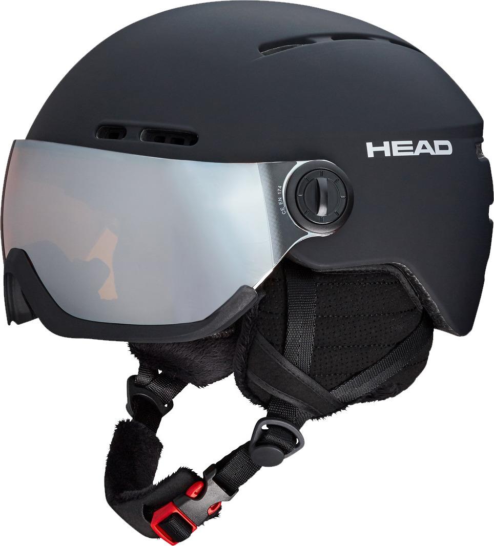 Шлем для горных лыж и сноуборда Head Knight, цвет: черный. Размер M/L324118 (M/L)Стиль, функциональность и комфорт - все в одном. Встроенный визор дает преимущества единой системы шлем/оптика, достоинства которой оценят не только носители диоптрических очков - единая система гораздо легче, чем шлем и маска в отдельности. Ощущение невесомости от этого шлема, происходит не только потому, что у него футуристический инопланетный вид - вес единой системы шлем/линза экономится за счет отсутствия в ней лишних деталей, таких как рама и уплотнение маски, ремешок - и прочей атрибутики. Наличие визора дает отличный периферийный обзор и новые ощущения комфорта и своего собственного внутреннего микроклимата. ? Встроенный визор Orange/Silver (S2, VLT 20%),? Единая система шлем/оптика, ? Облегченный ABS, ? Вентиляция Thermal, ? Мягкая подкладка и утеплитель Primaloft, ? Регулировка размера 2D Fit,? Регулировка воротника,? Сертификат CE EN 1077:2007 Class B,? Вес с визором: m/l 540 г.
