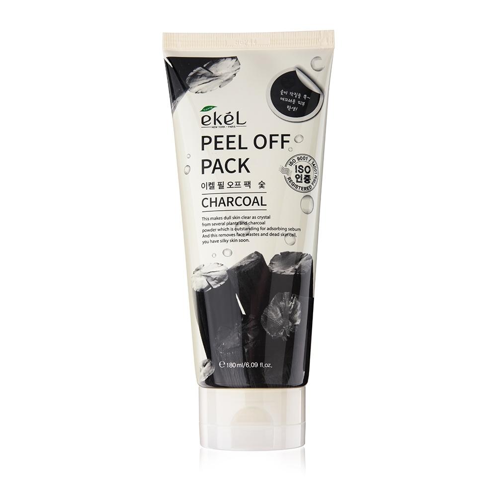 Маска-пленка EKEL Peel Off Pack Charcoal с угольной пудрой, 180 г очищающая маска пленка с углем farmstay charcoal black head peel off mask pack 100гр