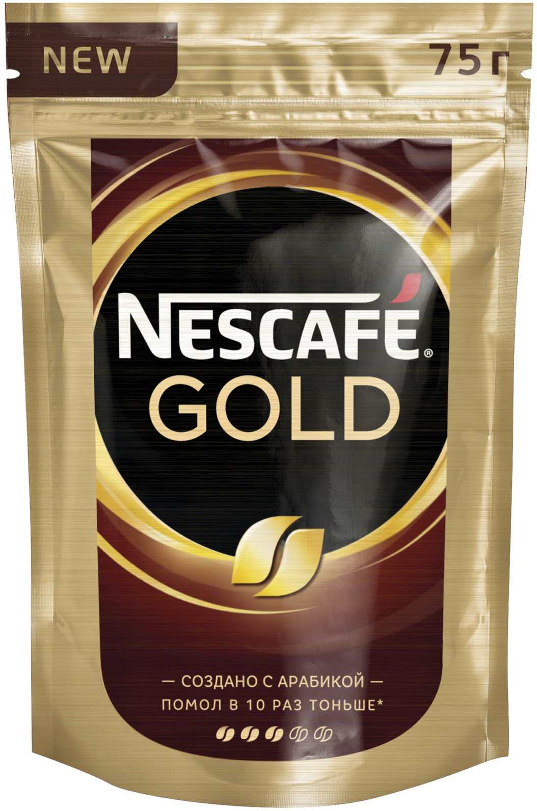 Nescafe Gold Кофе растворимый сублимированный с добавлением натурального жареного молотого кофе, 75 г