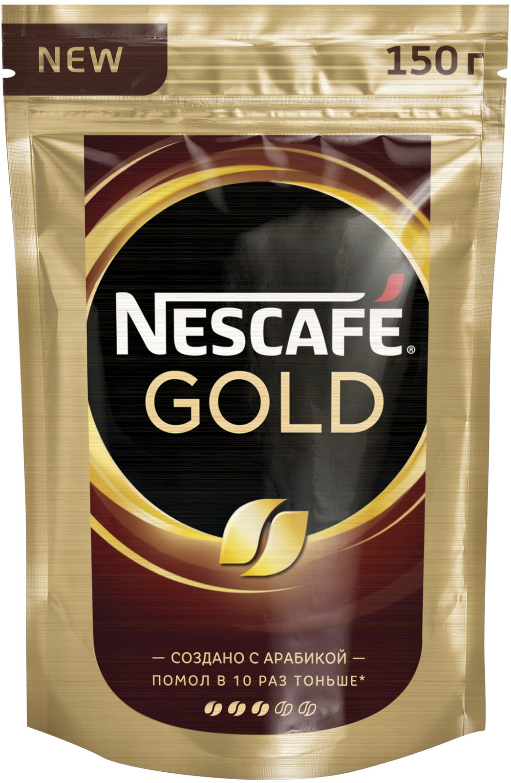 Nescafe Gold Кофе растворимый сублимированный с добавлением натурального жареного молотого кофе, 150 г