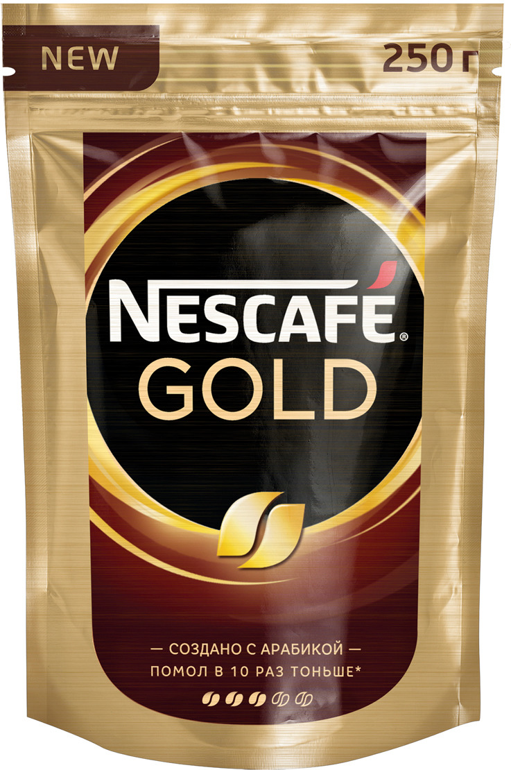 Nescafe Gold Кофе растворимый сублимированный с добавлением натурального жареного молотого кофе, 250 г