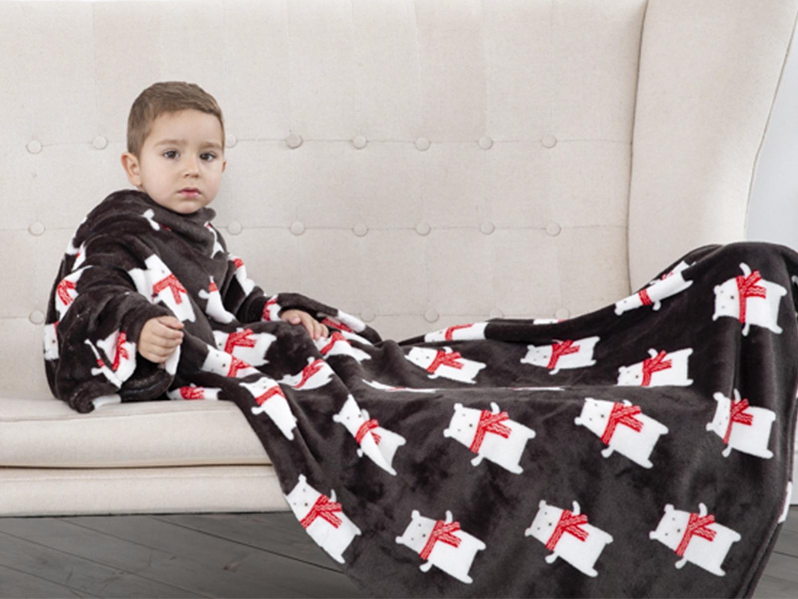 Плед с рукавами Sleepy Kids, 90*140 см, цвет черный/красный цена