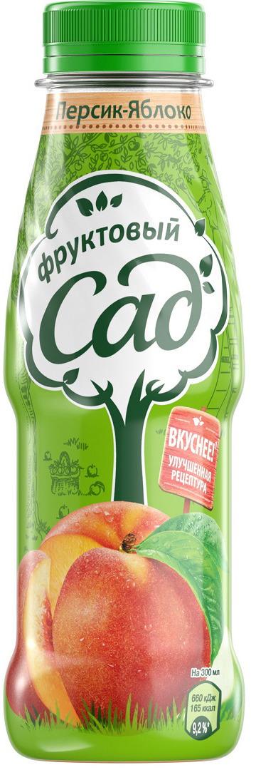Фруктовый Сад Персик-Яблоко нектар с мякотью 0,3 л фруктовый сад яблоко нектар 0 2 л
