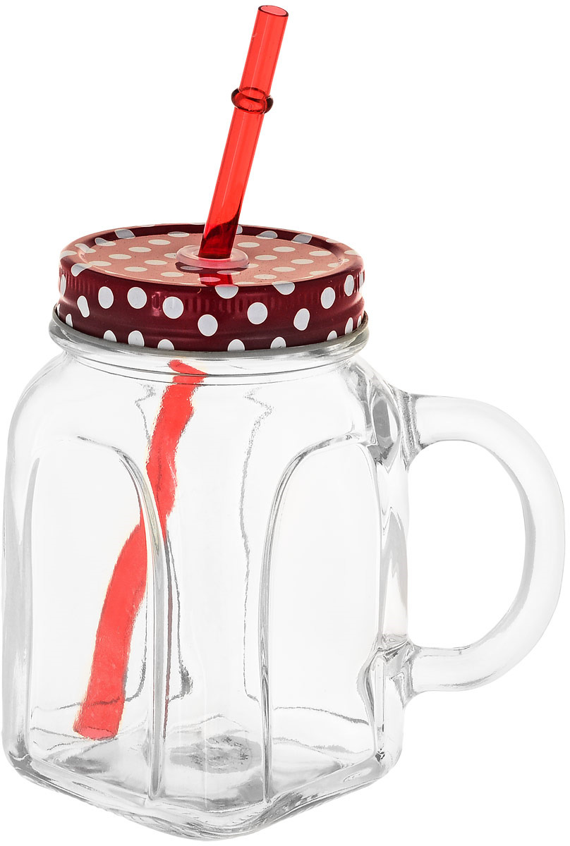 Кружка столовая Pasabahce Homemade, с крышкой, цвет: красный кружка бежевая 8х9 8 см