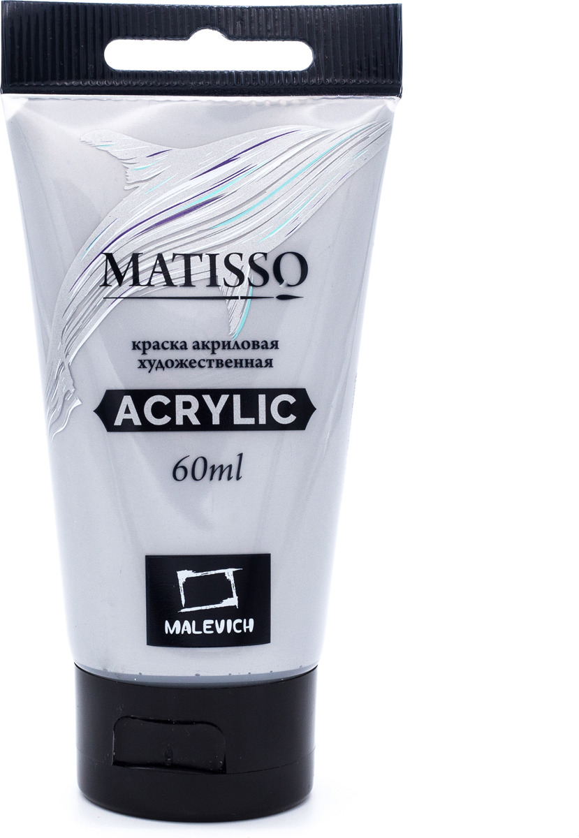 Краска акриловая Малевичъ Matisso, цвет: серебро, 60 мл