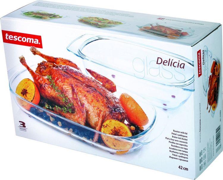 "Жаровня Tescoma ""Delicia Glass"" с крышкой, 42 см х 26 см"