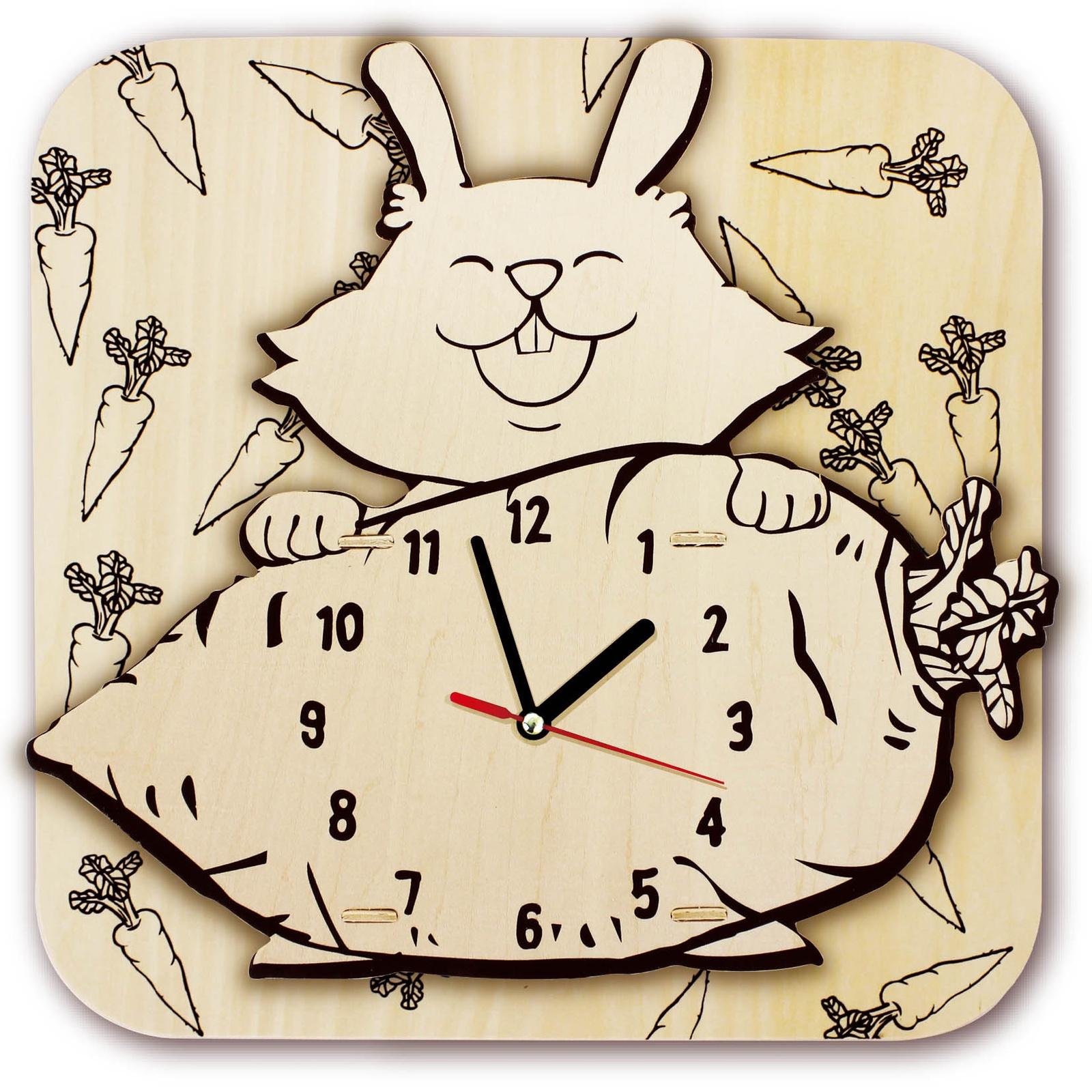 Настенные часы Robotime Часы-конструктор деревянные - Заяц с морковкой раскраска