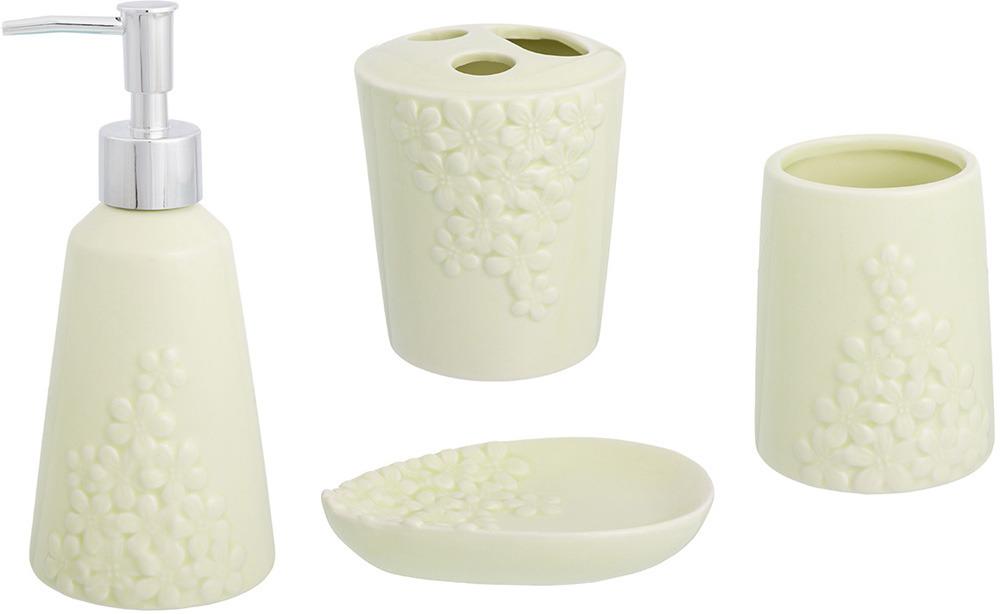"""Набор для ванной комнаты Elan Gallery """"Цветочки"""", цвет: молочный, 4 предмета"""