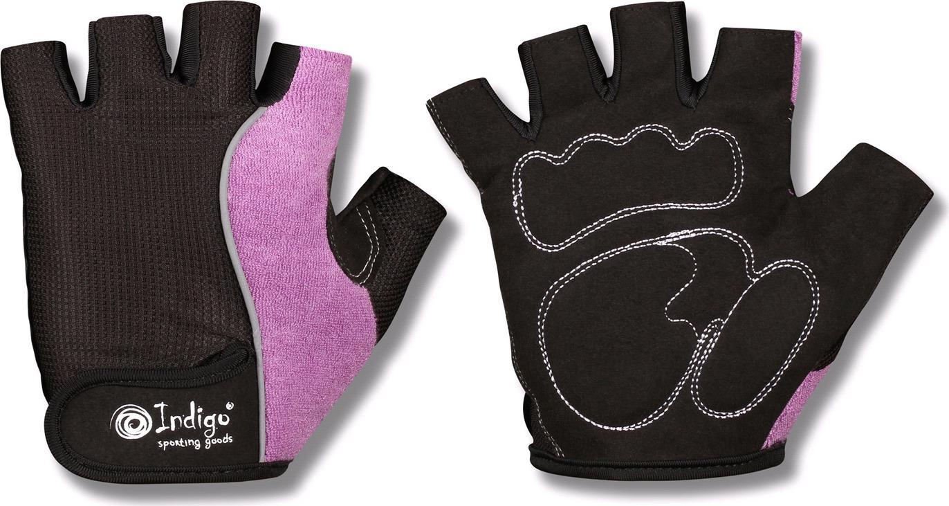 """Перчатки для фитнеса женские Indigo """"97852 IR"""", цвет: черно-сиреневый, размер S"""