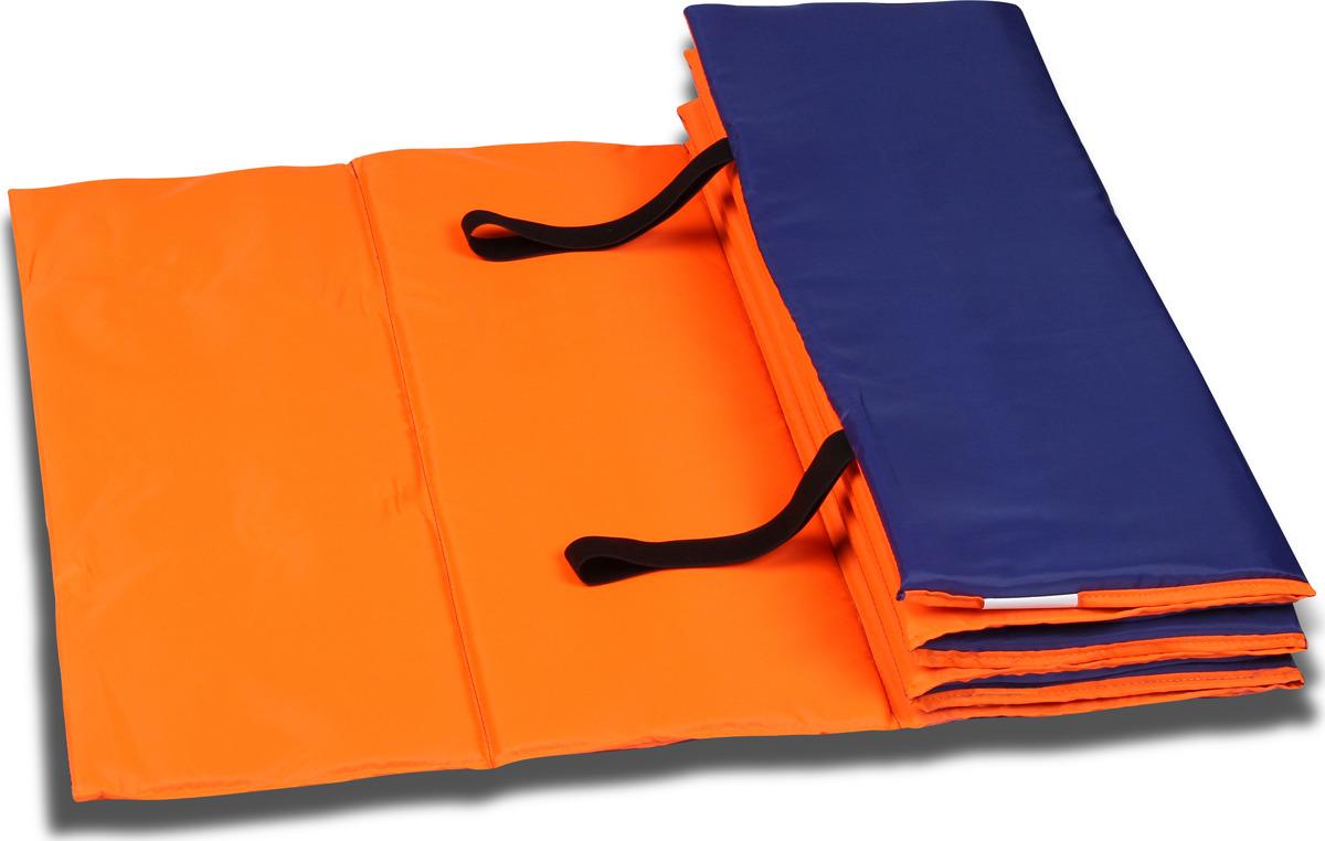 Коврик гимнастический Indigo SM-042, цвет: оранжево-синий, 180 х 60 см гимнастический коврик c дугами sh 303350