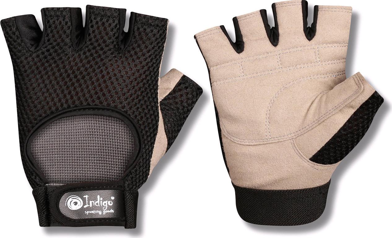 """Перчатки для фитнеса Indigo """"97832 IR"""", цвет: черно-бежевый, размер M"""