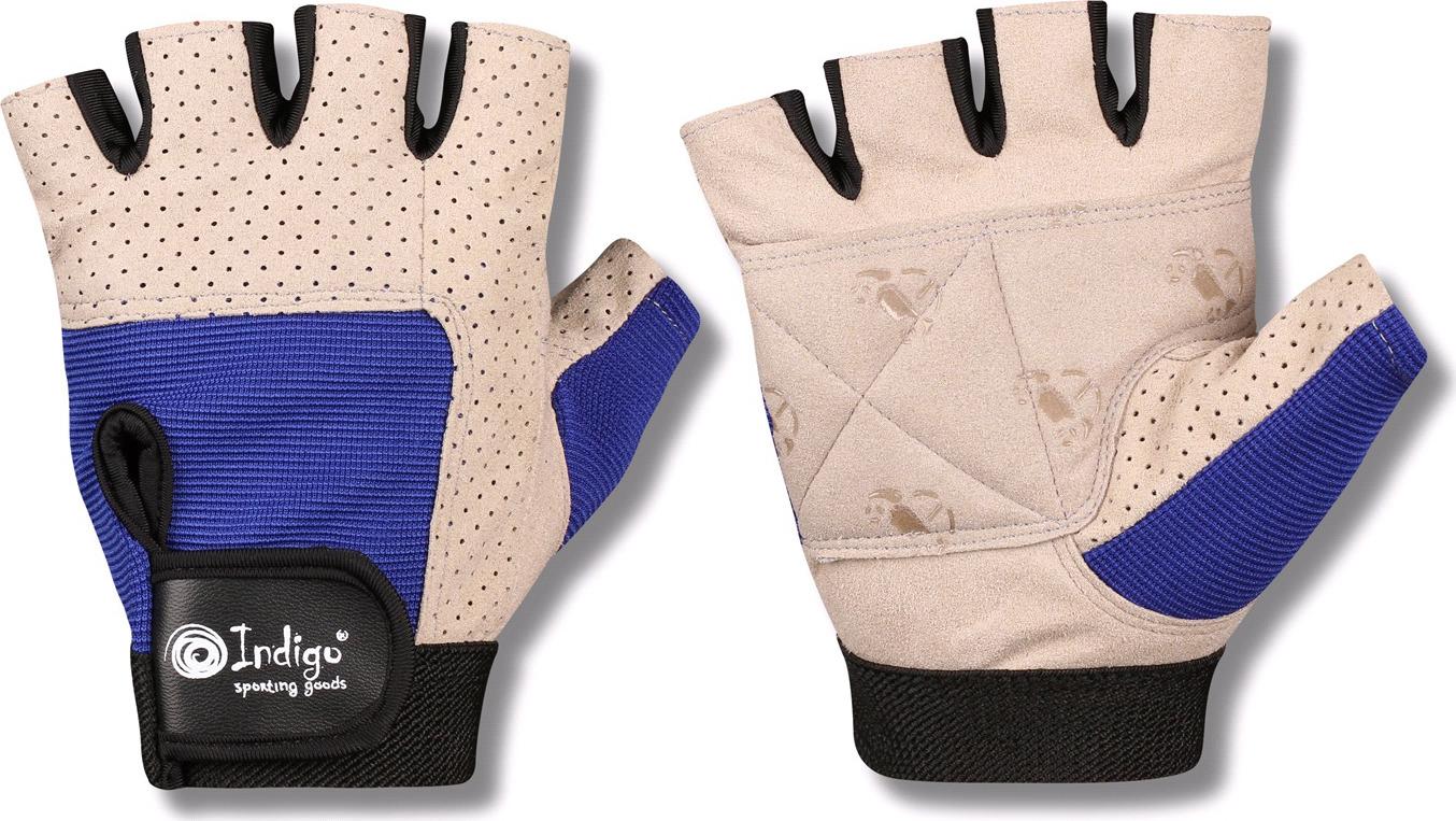 """Перчатки для фитнеса Indigo """"97836 IR"""", цвет: бело-синий, размер L"""