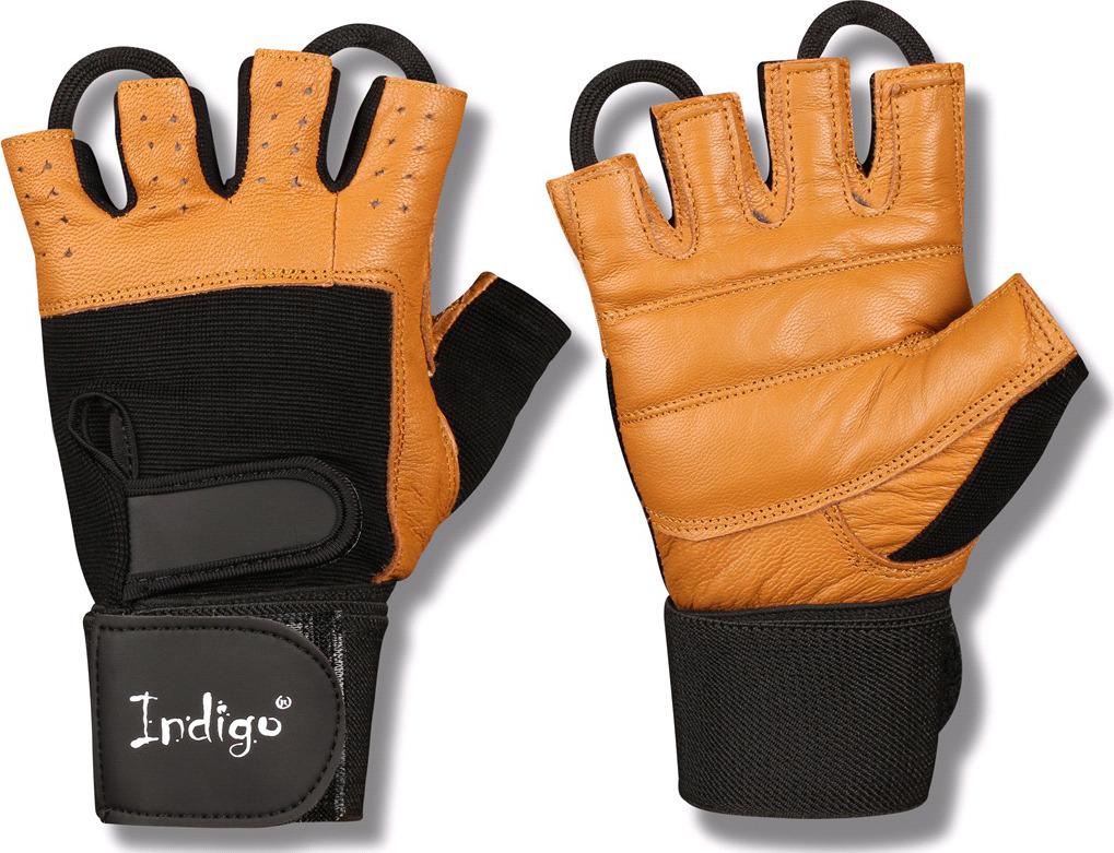 """Перчатки для фитнеса Indigo """"SB-16-1073"""", с широким напульсником, цвет: коричнево-черный, размер M"""