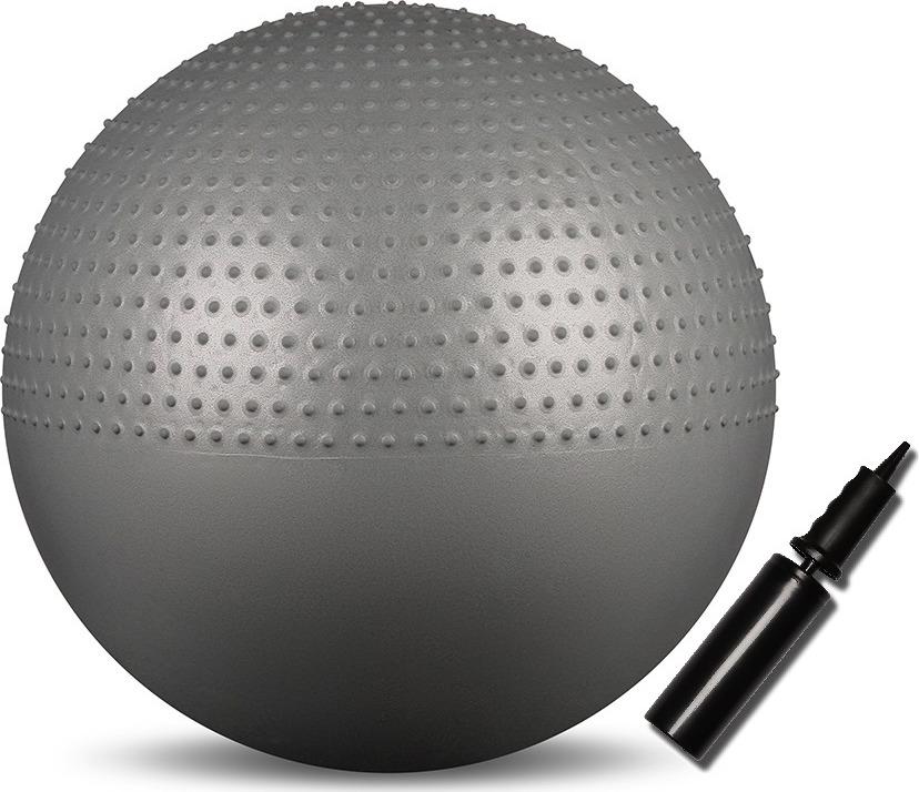 Мяч гимнастический Indigo Anti-burst, массажный, с насосом, цвет: серый, диаметр 65 см мяч гимнастический indigo in001 цвет голубой диаметр 75 см
