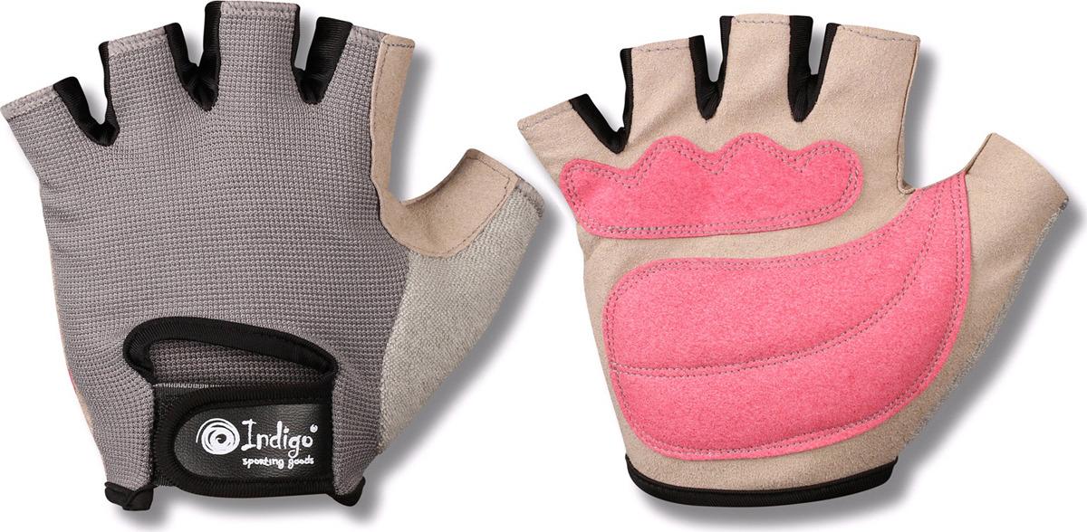"""Перчатки для фитнеса женские Indigo """"97870 IR"""", цвет: белый, серый, розовый, размер XL"""