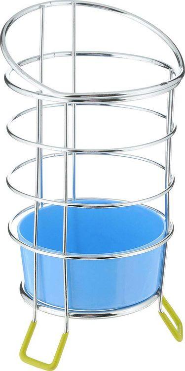Подставка для столовых приборов Мультидом,  поддоном, цвет: синий, стальной, высота 13 см