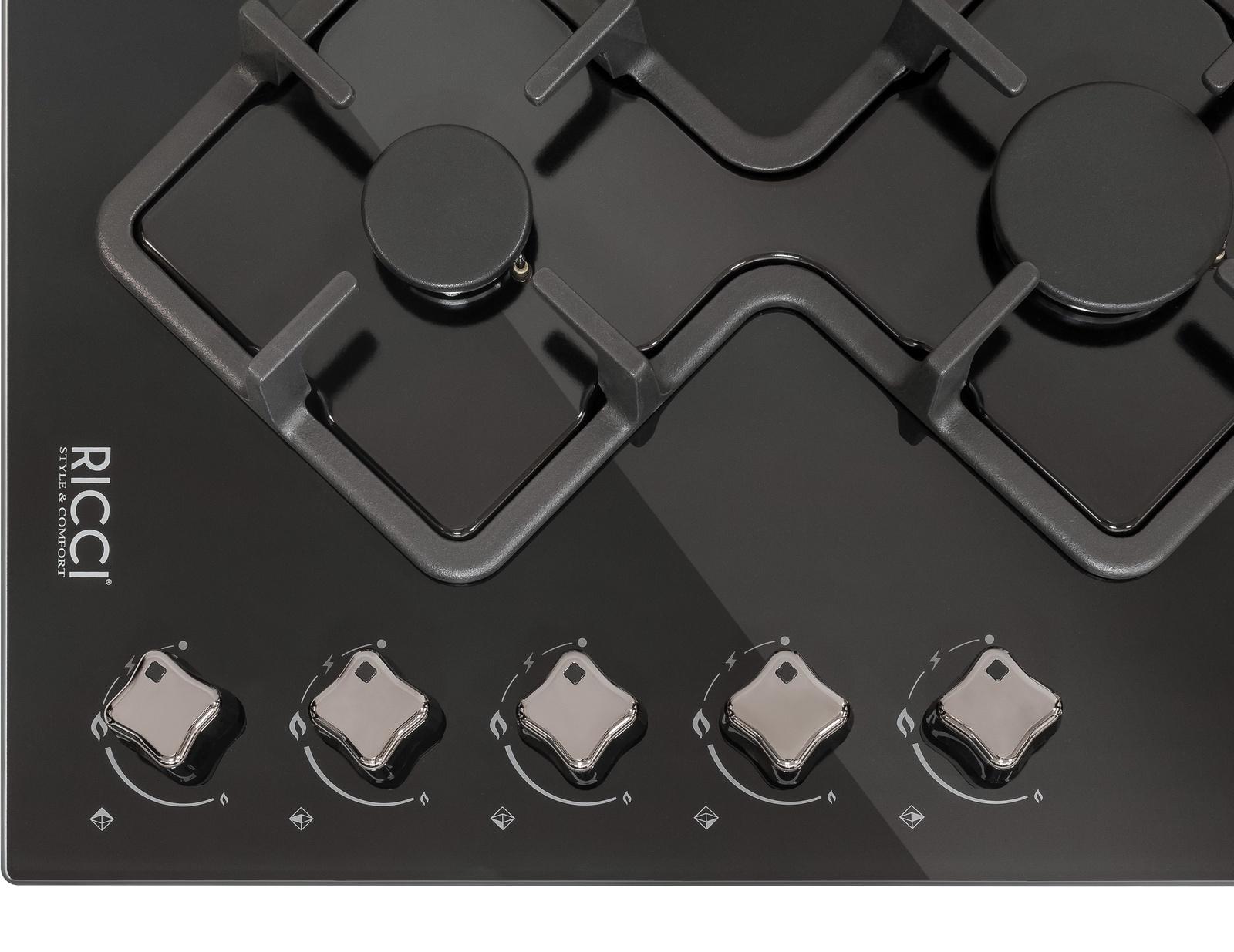 Варочная газовая панель Ricci RGN-КА5041BL встраиваемая, 5-ти конфорочная, цвет:  черный Ricci