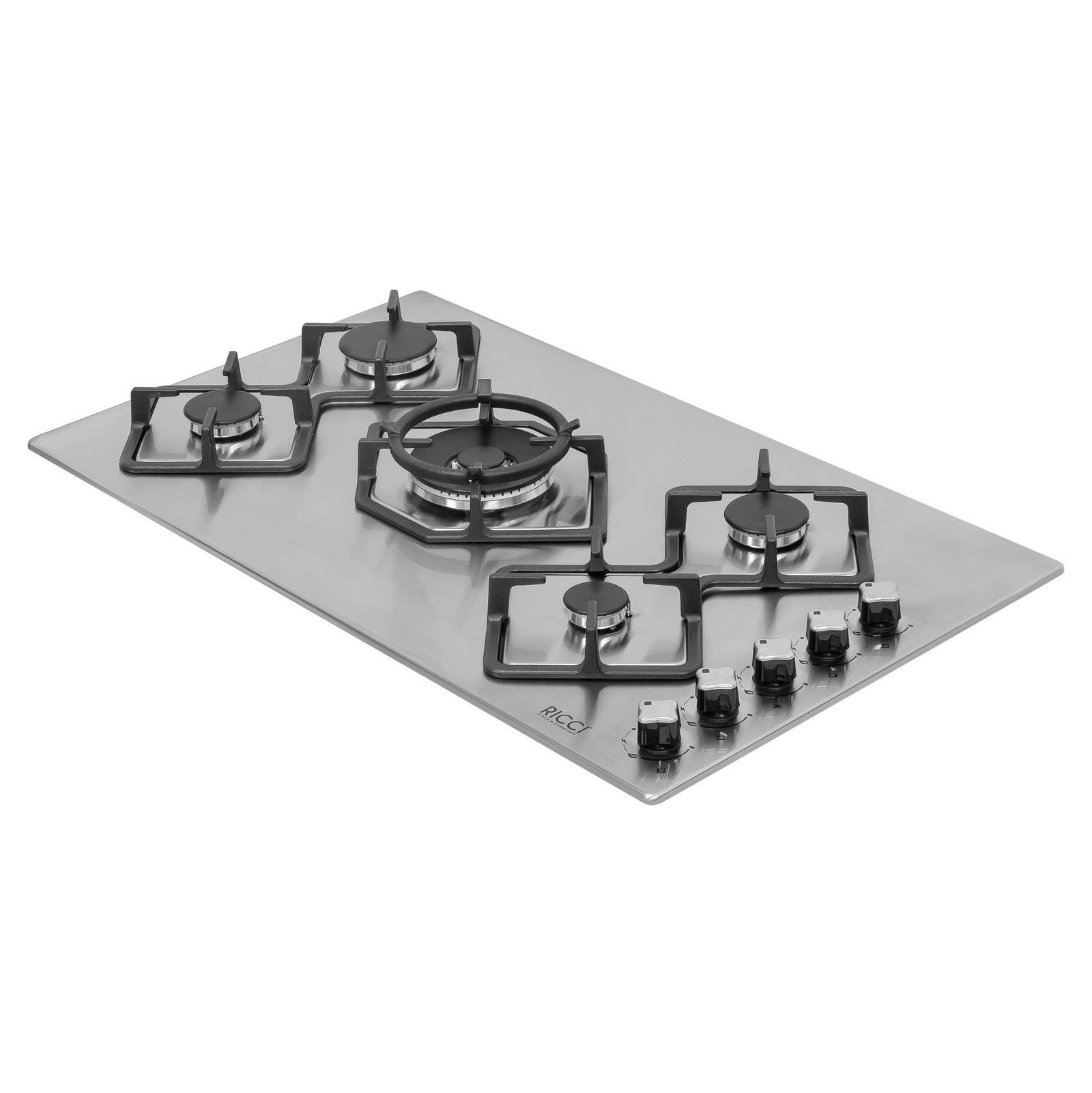 Варочная газовая панель Ricci RGN-КА5041IX встраиваемая, 5-ти конфорочная, цвет: нержавеющая сталь встраиваемая газовая варочная панель pyramida pfe 644 black