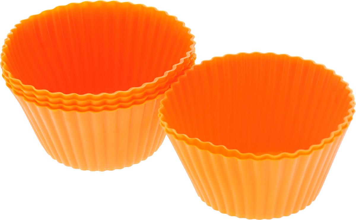 Форма для выпечки силиконовая Mayer & Boch, цвет: оранжевый, 85 мл, 6 шт. 28057 набор для выпечки mayer