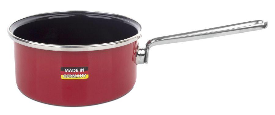 Ковш эмалированный, объем 1,4 л, диаметр 16 см, высота 8,2 см, со стеклянной крышкой, цвет-красный, Metallica SOLID, KOCHSTAR, Германия