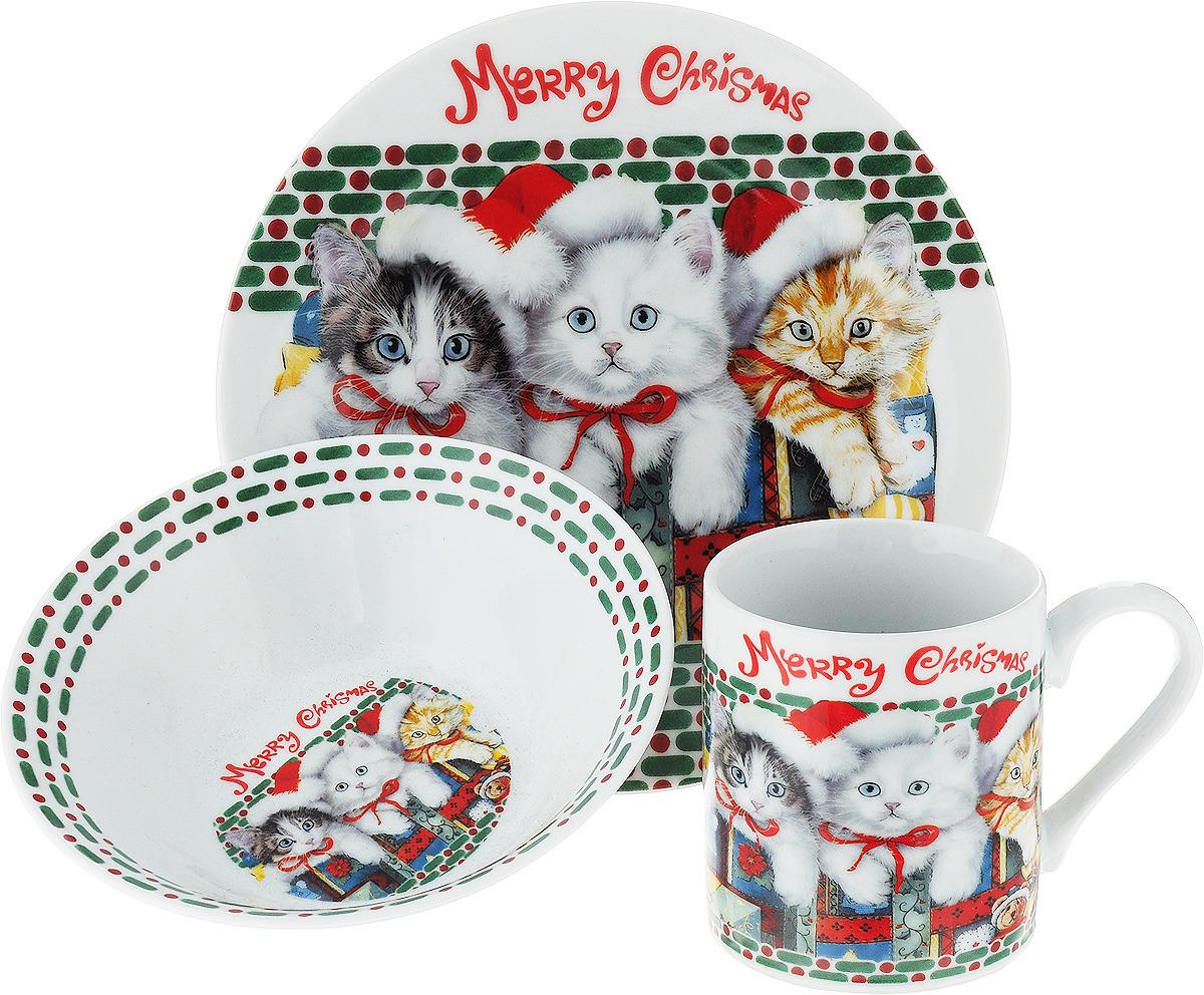 """Набор детской посуды Loraine """"Кошечки"""", цвет: красный, зеленый, белый, 3 предмета"""
