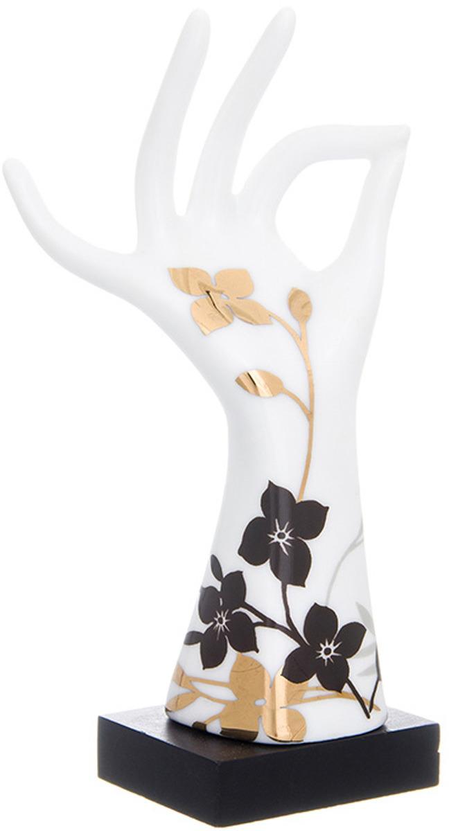 Фото - Подставка для колец Elan Gallery Правая рука, цвет: белый, черный, золотой, 5 х 4 х 14,5 см подставка для губки elan gallery сова с цветком с губкой цвет бежевый 9 х 7 6 х 10 5 см