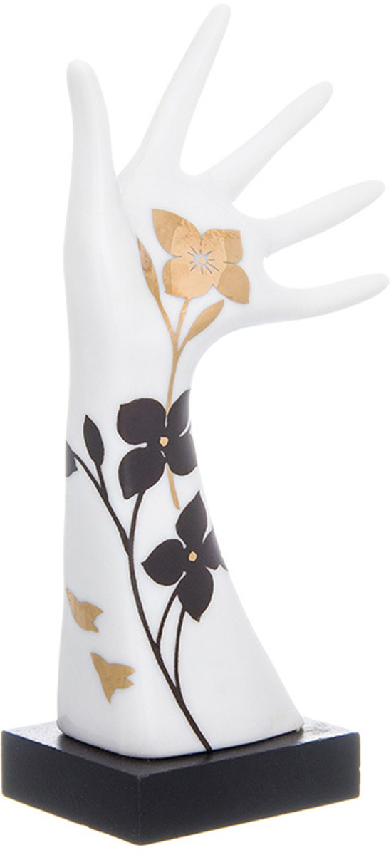 Фото - Подставка для колец Elan Gallery Дамская ручка, цвет: белый, черный, золотой, 5 х 4 х 14,5 см подставка для губки elan gallery сова с цветком с губкой цвет бежевый 9 х 7 6 х 10 5 см