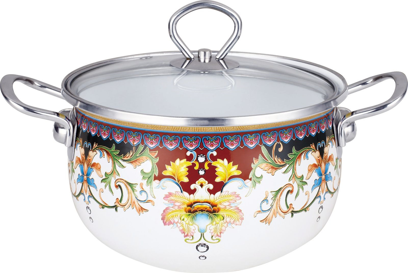 Кастрюля Kelli KL-4438-20, с крышкой, цвет: белый, 4,2 л кастрюля эмалированная myron cook с крышкой 3 л