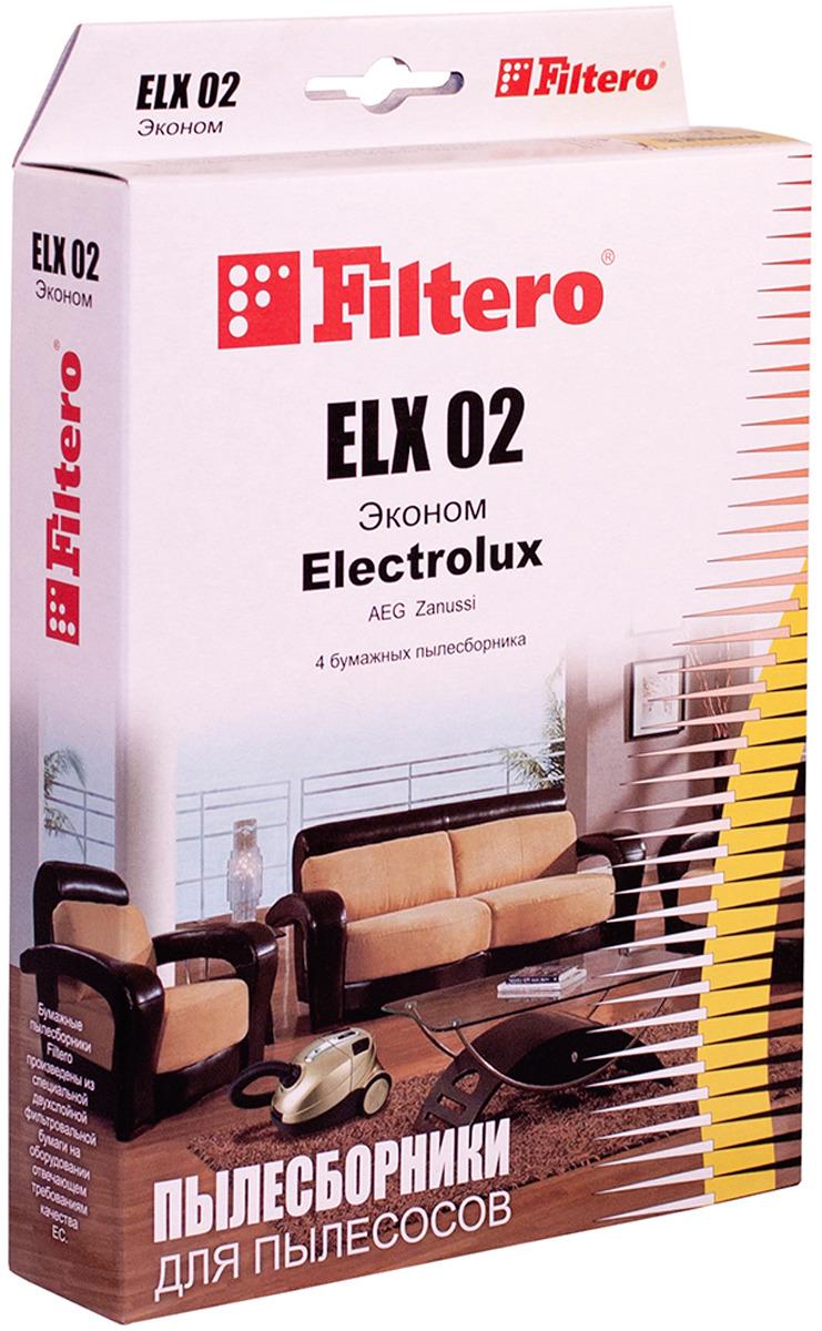 Мешок-пылесборник Filtero ELX 02  Эконом, для Electrolux, AEG, бумажный, 4 шт
