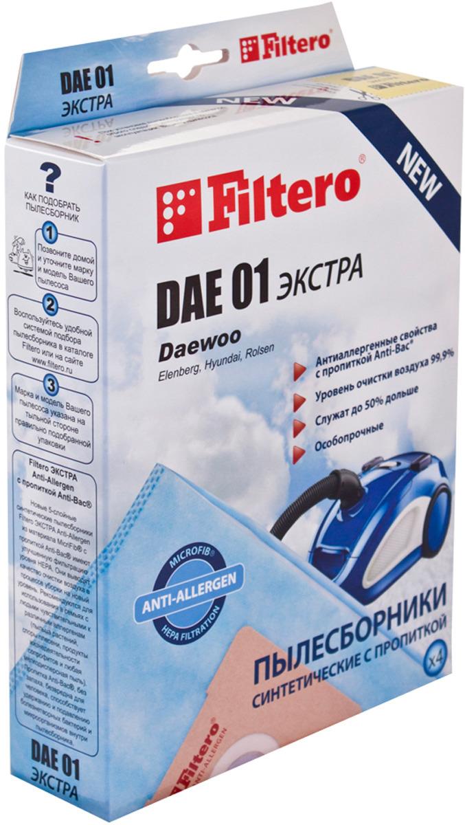 Мешок-пылесборник Filtero DAE 01 Экстра, для Daewoo, Polar, синтетический, 4 шт