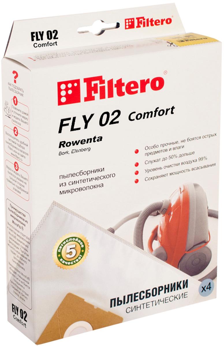 Мешок-пылесборник Filtero FLY 02 Comfort, для Rowenta, Hoover, Polaris, синтетический, 4 шт