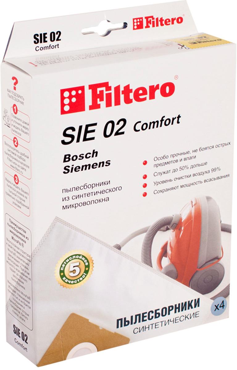 Мешок-пылесборник Filtero SIE 02 Comfort, для Bosch, Siemens, синтетический, 4 шт